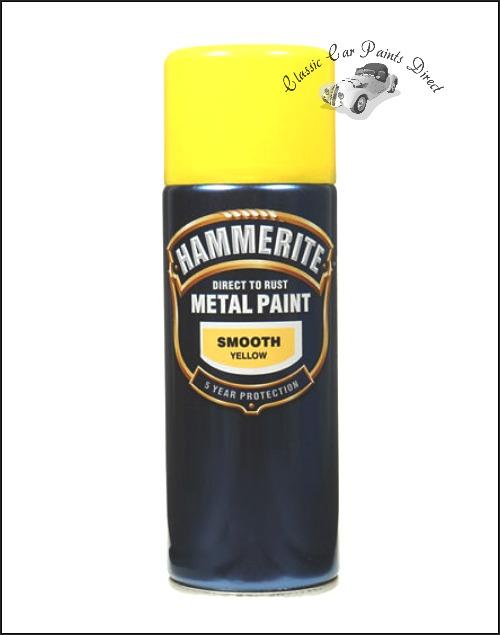Smooth Yellow Hammerite Metal Paint Aerosol