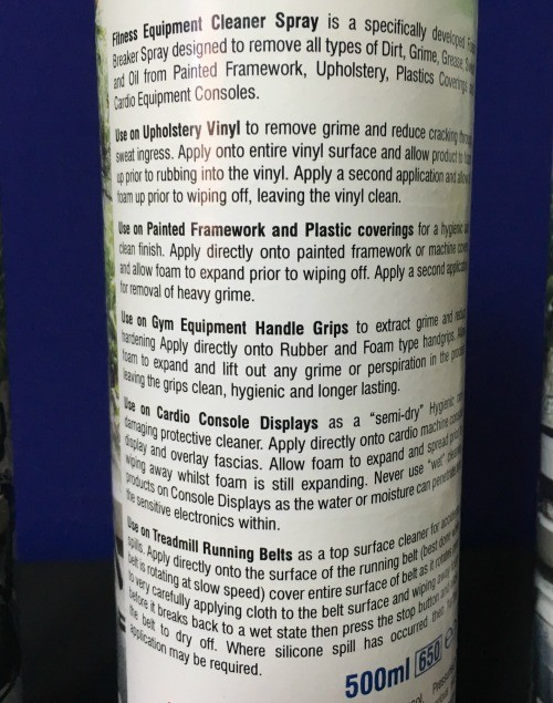 Fitness Equipment Cleaner Description